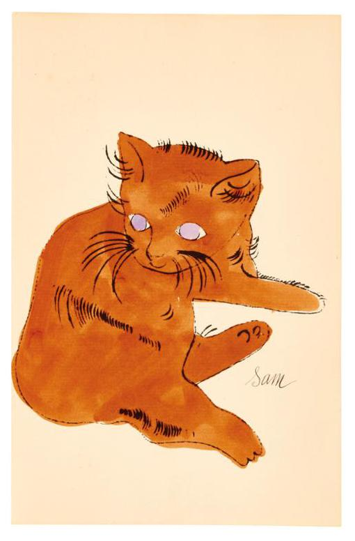 Andy Warhol-25 Cats Name[D] Sam And One Blue Pussy (F. & S. Iv.64, 66)-1954