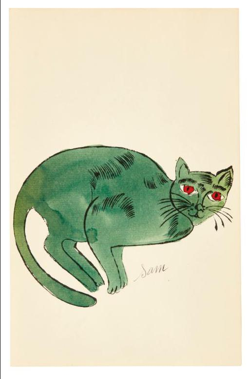 Andy Warhol-25 Cats Name[D] Sam And One Blue Pussy (F. & S. Iv.59, 67)-1954