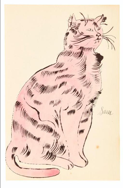 Andy Warhol-25 Cats Name[D] Sam And One Blue Pussy (F. & S. Iv.56, 58)-1954