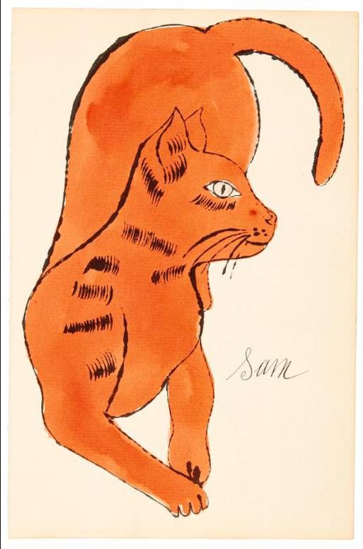 Andy Warhol-25 Cats Name[D] Sam And One Blue Pussy (F. & S. Iv.65, 67)-1954