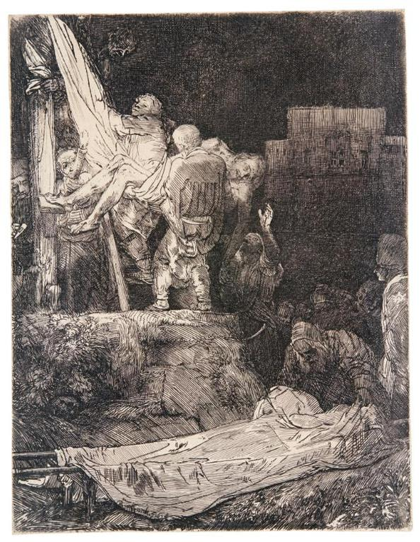 Rembrandt van Rijn-The Descent From The Cross By Torchlight (B., Holl. 83; New Holl. 286; H. 280)-1654