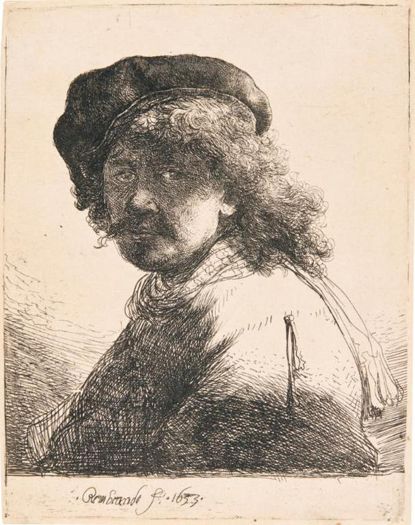 Rembrandt van Rijn-Self-Portrait In A Cap And Scarf With Face Dark: Bust (B., Holl. 17; New Holl. 120; H. 108)-1633