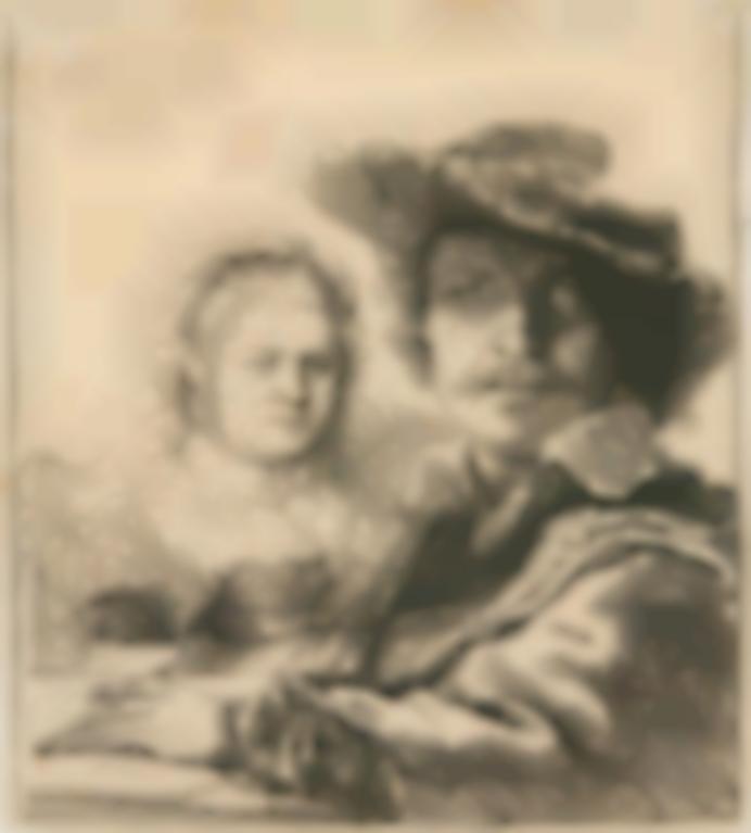 Rembrandt van Rijn-Self-Portrait With Saskia (B., Holl. 19; New Holl. 158; H. 144)-1636