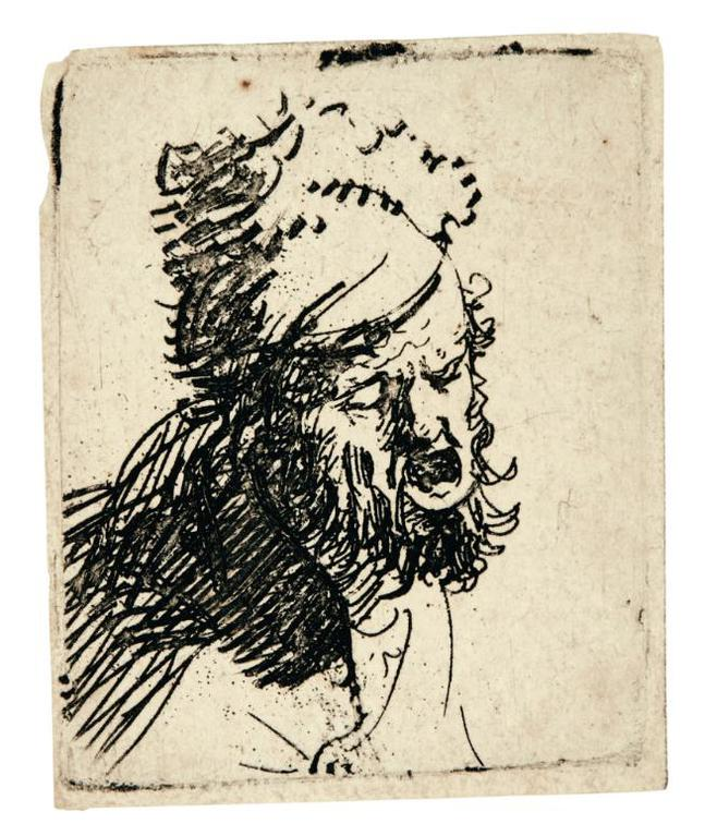 Rembrandt van Rijn-Head Of A Man In A Fur Cap, Crying Out; And Beggar Seated Warming His Hands At A Chafing Dish (B., Holl. 327, 173; New Holl. 36, 44; H. 37, 8)-1630