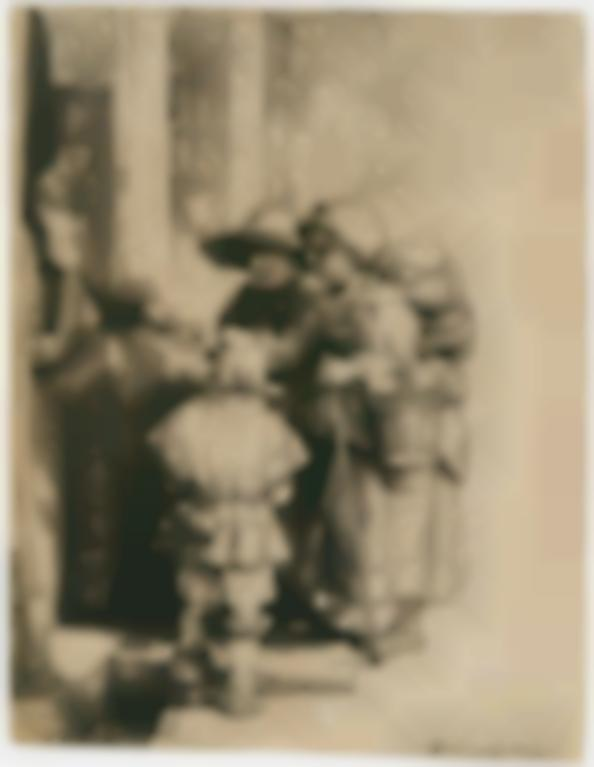 Rembrandt van Rijn-A Blind Hurdy-Gurdy Player And Family Receiving Alms (B., Holl. 176; New Holl. 243; H. 233)-1648
