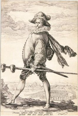 Hendrick Goltzius-The Captain Of The Infantry Marching To The Left (B. 126; H. 254; S. 252)-1587