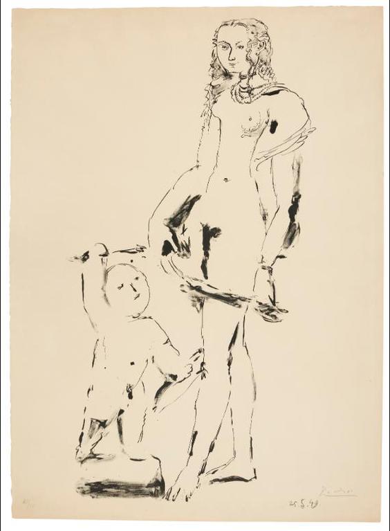 Pablo Picasso-Venus Et Lamour, 3E Variation (B. 614; Mourlot 184)-1949