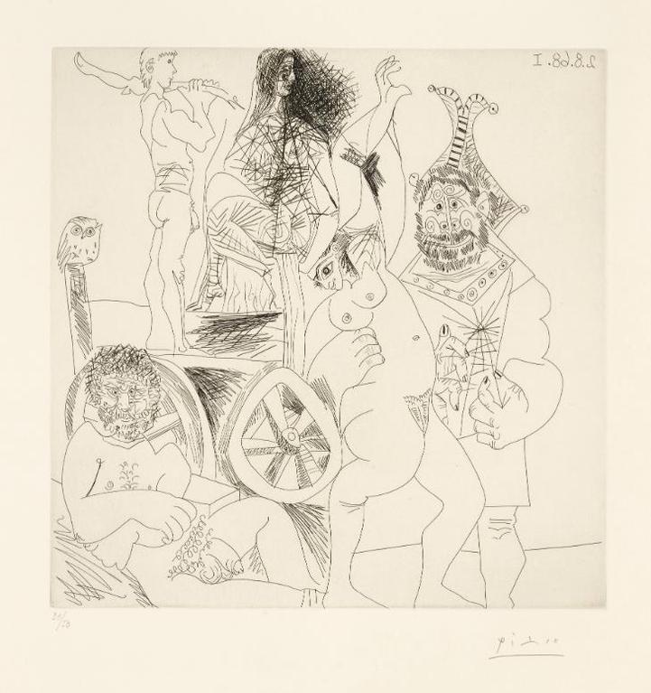Pablo Picasso-Halte De Comediens Ambulants, Avec Hibou, Et Bouffon Enlacant Une Femme (B. 1713; Ba. 1729)-1968