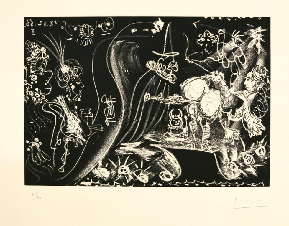 Pablo Picasso-Au Theatre: Le Clystere; And Le Cocu Assistant A La Comparution, Devant Linquisition, Dune Femme Nue Enchainee Par Un Bourreau (B. 1249, 1252; Ba. 1437, 1440)-1968