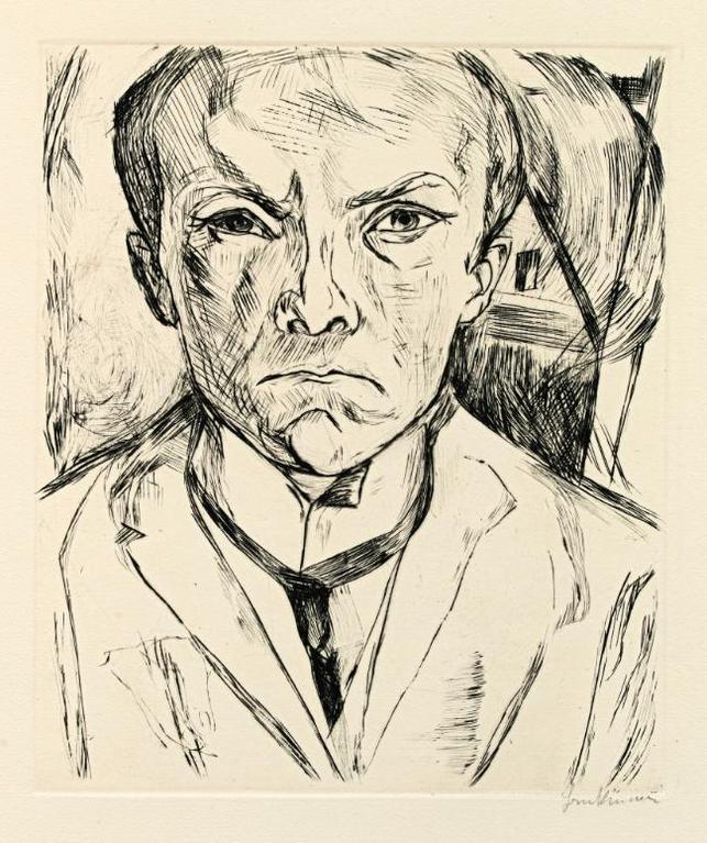 Max Beckmann-Selbstbildnis Von Vorn, Im Hintergrund Hausgiebel (Hofmaier 125)-1918