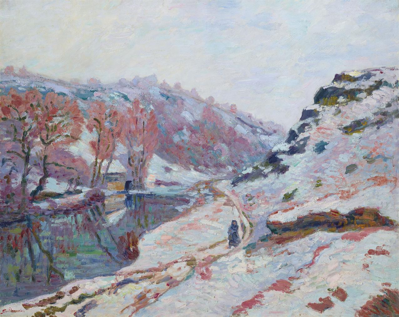 Jean-Baptiste Armand Guillaumin-La Vallee De La Sedelle Sous La Neige, Creuse-1905