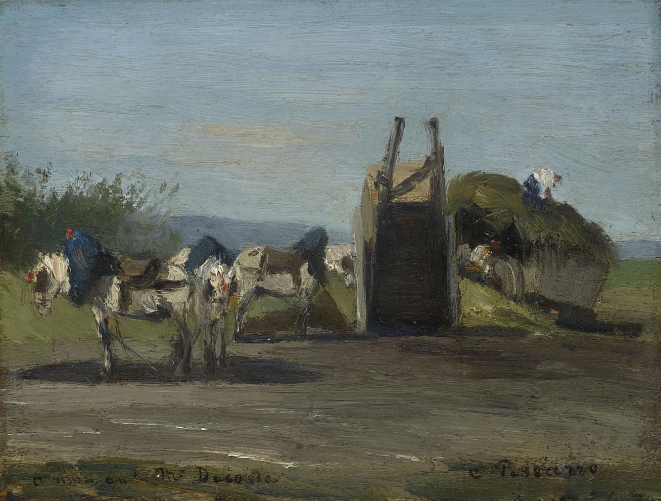 Camille Pissarro-Chevaux Blancs Et Charrettes-1862