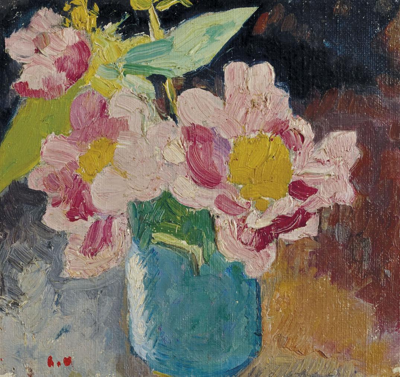 Louis Valtat-Fleurs Roses Aux Coeurs Jaunes, Vase Bleu-1913