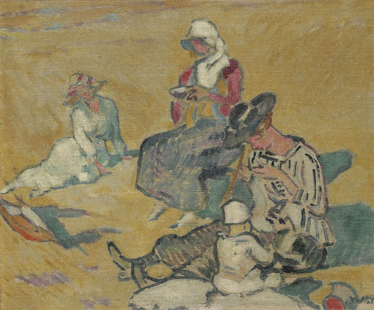Louis Valtat-Femmes A Louvrage Sur La Plage-1916