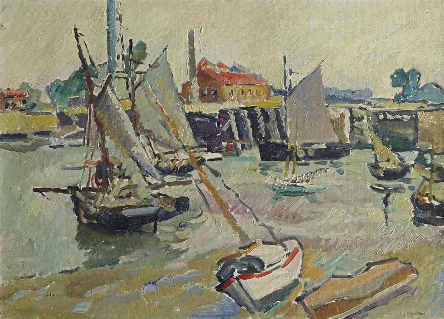Louis Valtat-Voiliers Au Port A Maree Basse, Ouistreham-1927