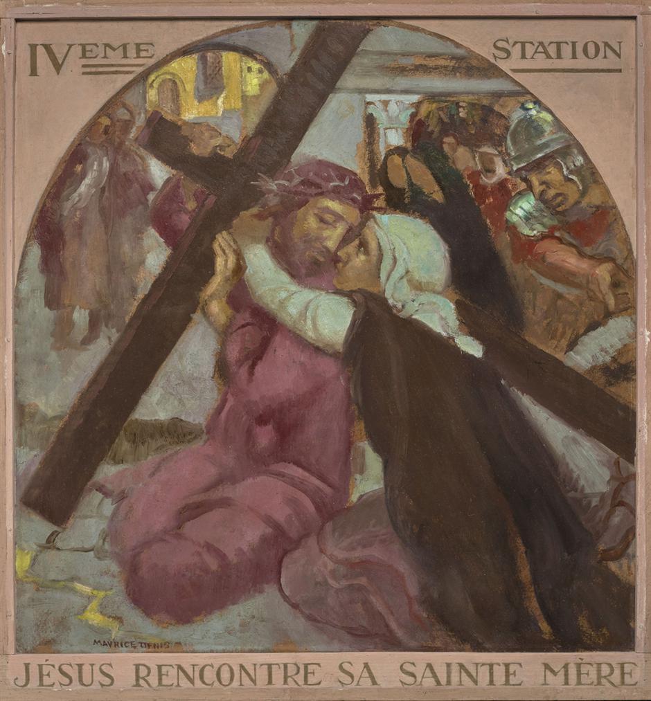 Maurice Denis-Jesus Rencontre Sa Sainte Mere, Replique De La Iveme Station Du Chemin De Croix Pour La Chapelle Notre-Dame-De-La-Clarte De Perros-Guirec-1931