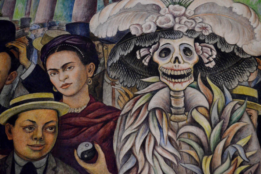 Diego Rivera - Dream of a Sunday Afternoon in Alameda Park 1948 - Detail depciting Frida Khalo and Diego Rivera as a boy