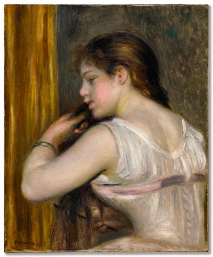 Pierre-Auguste Renoir-Jeune Fille Se Peignant (La Coiffure)-1896