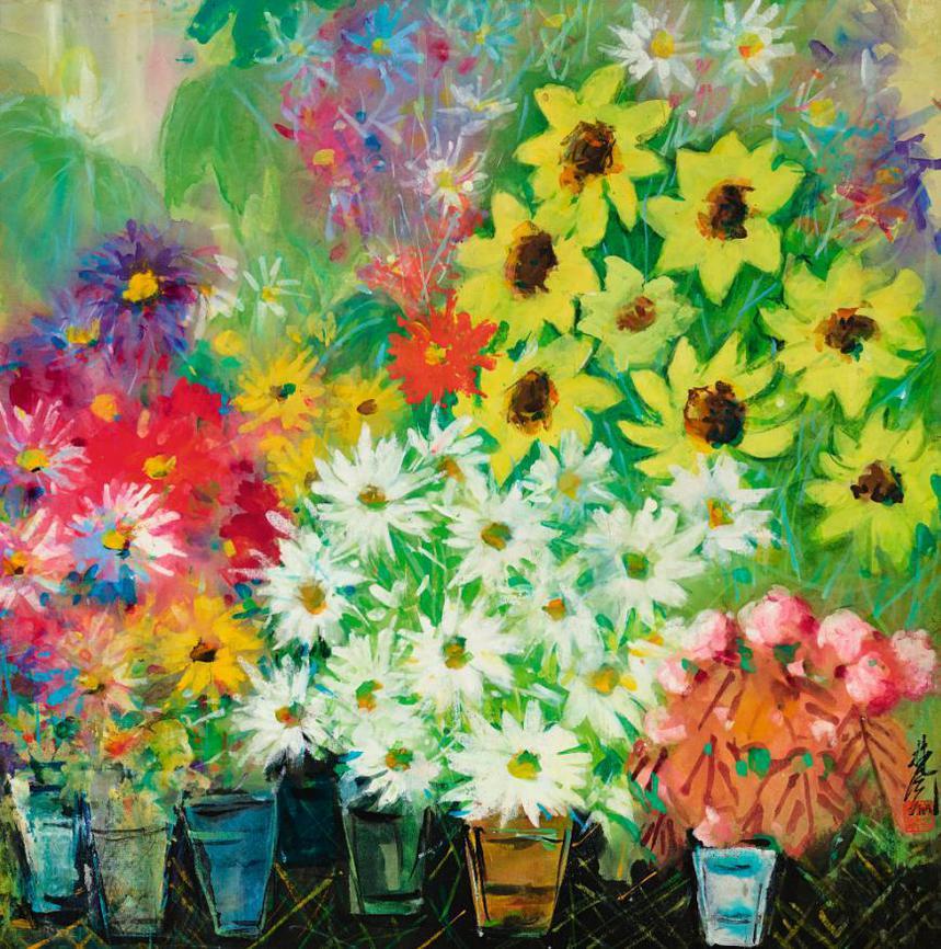 Lin Fengmian-Blooming Chrysanthemums-1970
