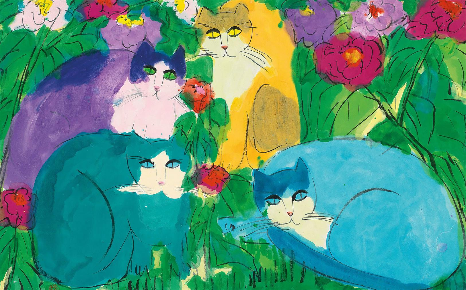 Walasse Ting-Colourful Cats-