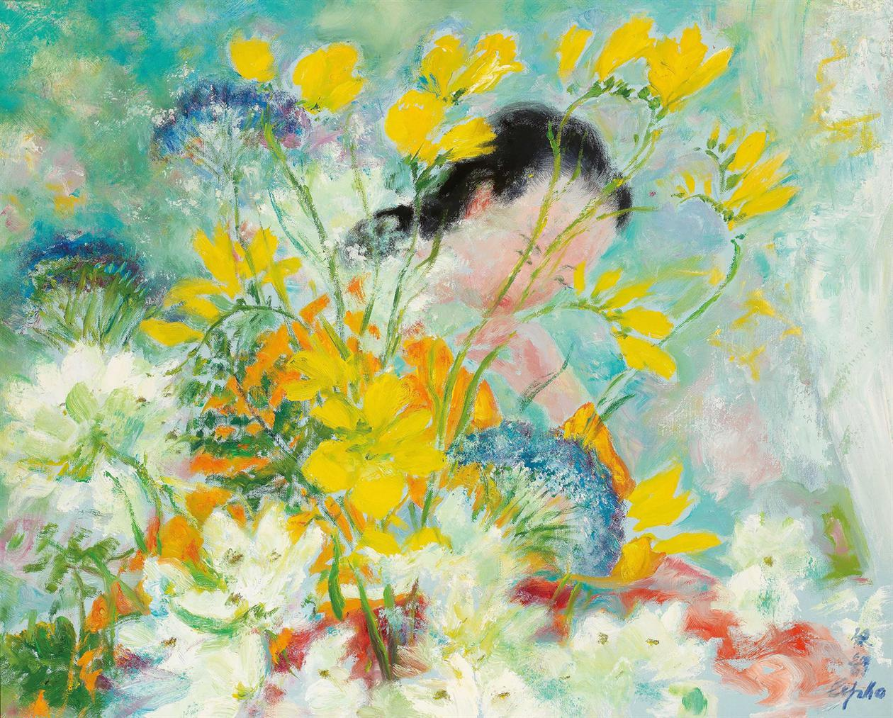 Le Pho-Femme Aux Fleurs Jaune (Woman With Yellow Flowers)-