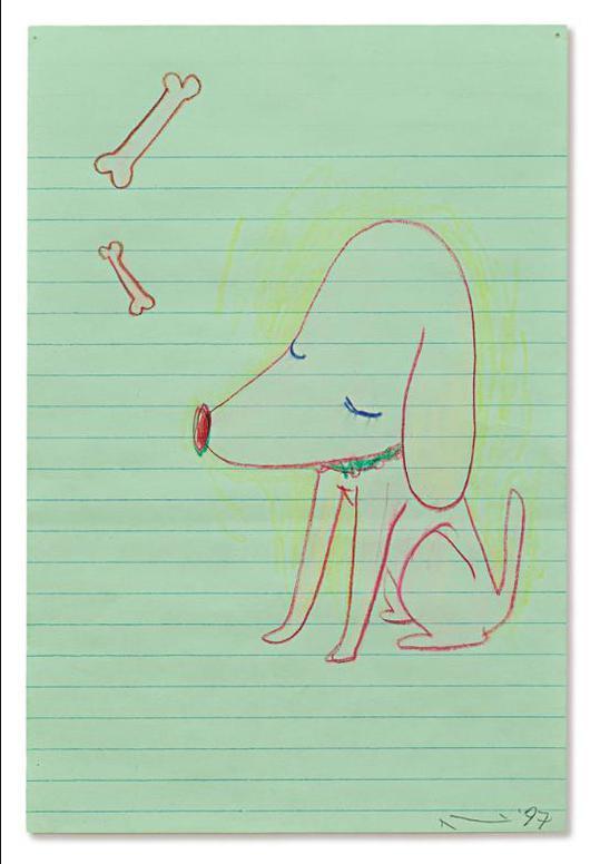 Yoshitomo Nara-Untitled (Dog & Bone)-1997