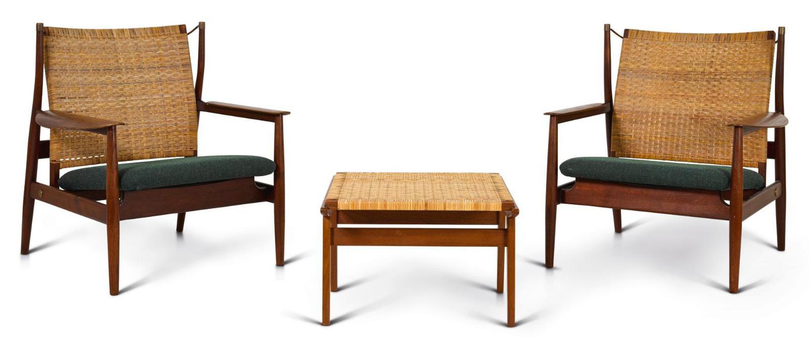 Finn Juhl-Rare Pair Of Adjustable Armchairs And Ottoman-1955
