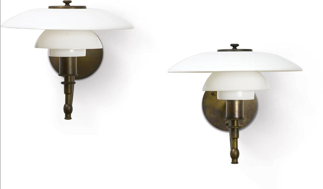 Poul Henningsen-Pair Of Academy Wall Lights With 3/2 Type Shades-1928