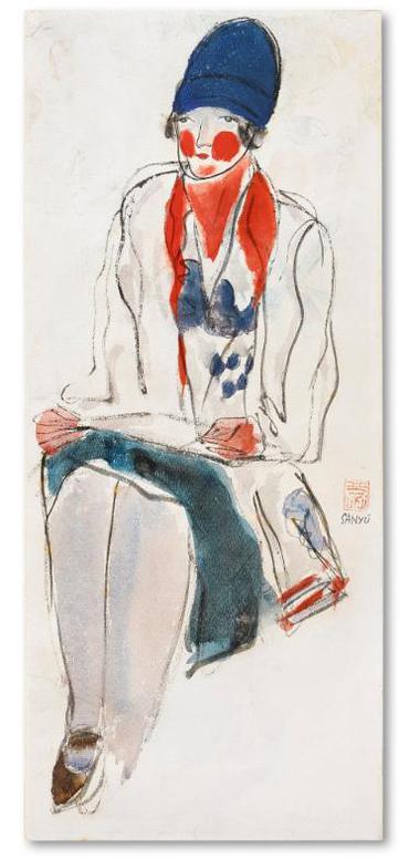 Sanyu-Femme Au Foulard Rouge-1930