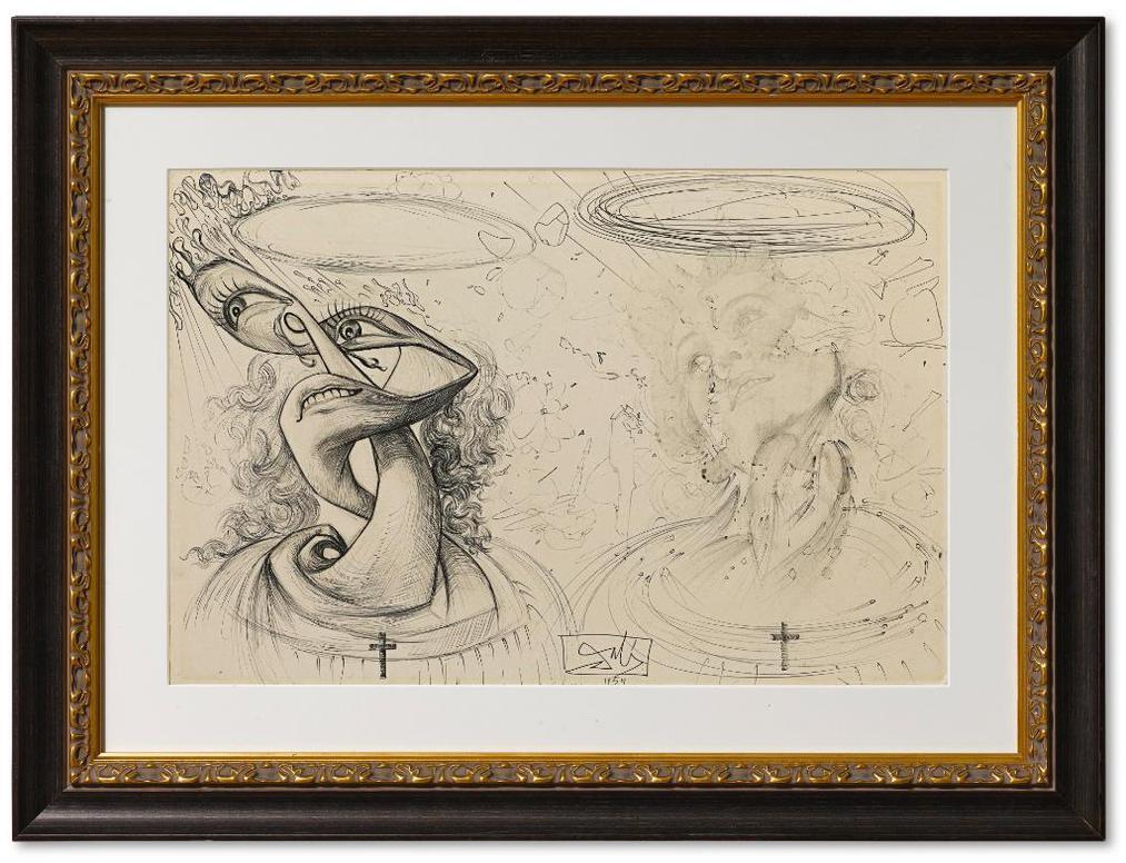 Salvador Dali-Deux Tetes De Gala Transformees-1954