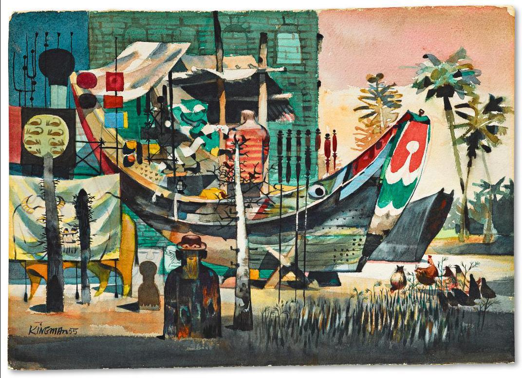 Dong Kingman - Boat In Malaya-1955