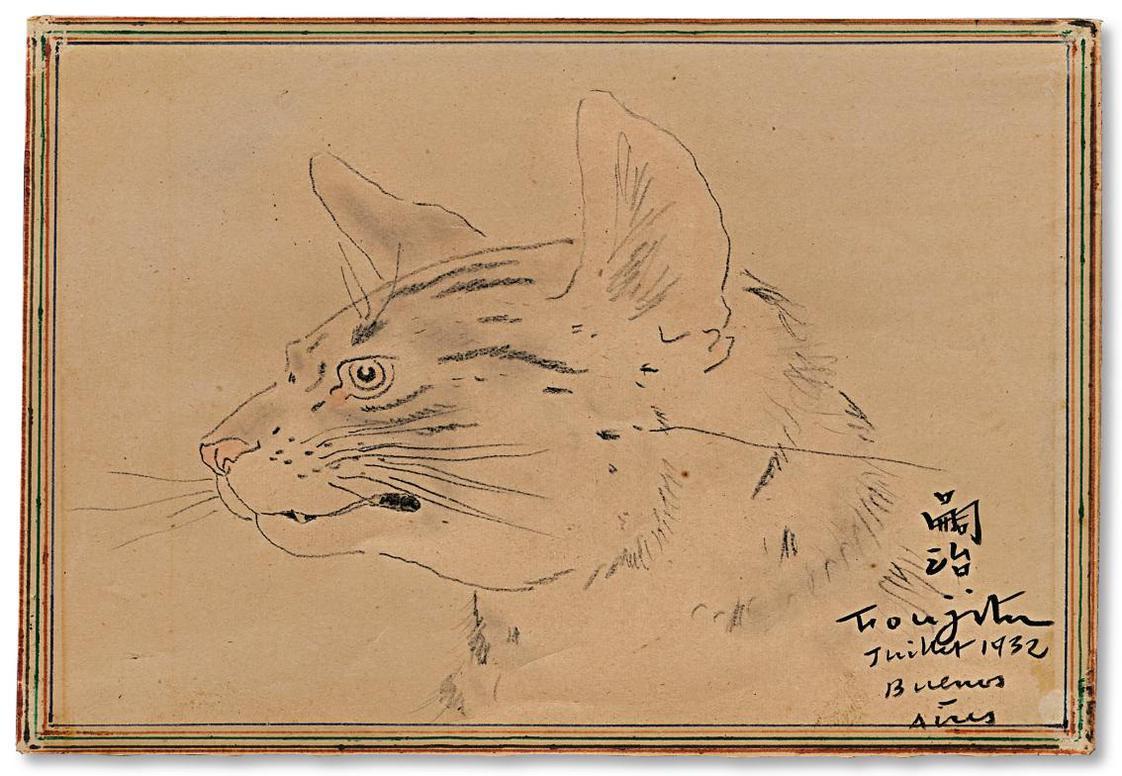 Tsuguharu Foujita-Tete De Chat-1932