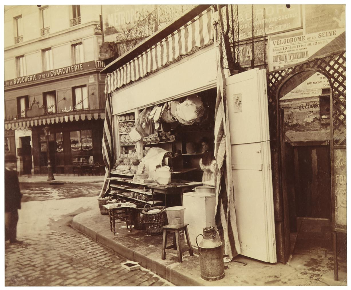 Eugene Atget-Street Vendor Selling Cheese And Cream In Les Halles, Corner Of Rue De Larbre-Sec And Rue Vauvilliers, 1St Arrondissement, 1898-1898