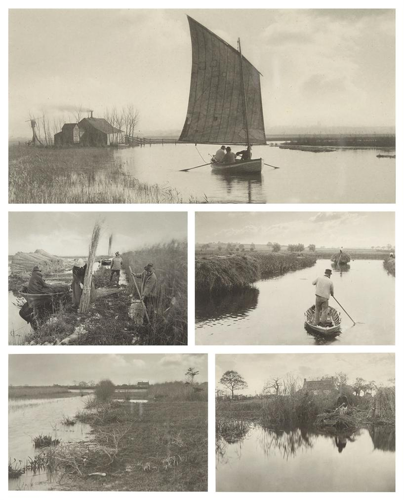 Peter Henry Emerson-Selected Images From Life And Landscape On The Norfolk Broads: (i) Plate XII The Old Order and the New; (ii) Plate XXVIII During the Reed-Harvest; (iii) Plate XVI Quanting the Marsh Hay; (iv) Plate XXXVIII An Autumn Morning; (v) Plate XXXIV Quanting the Gladdon-1886