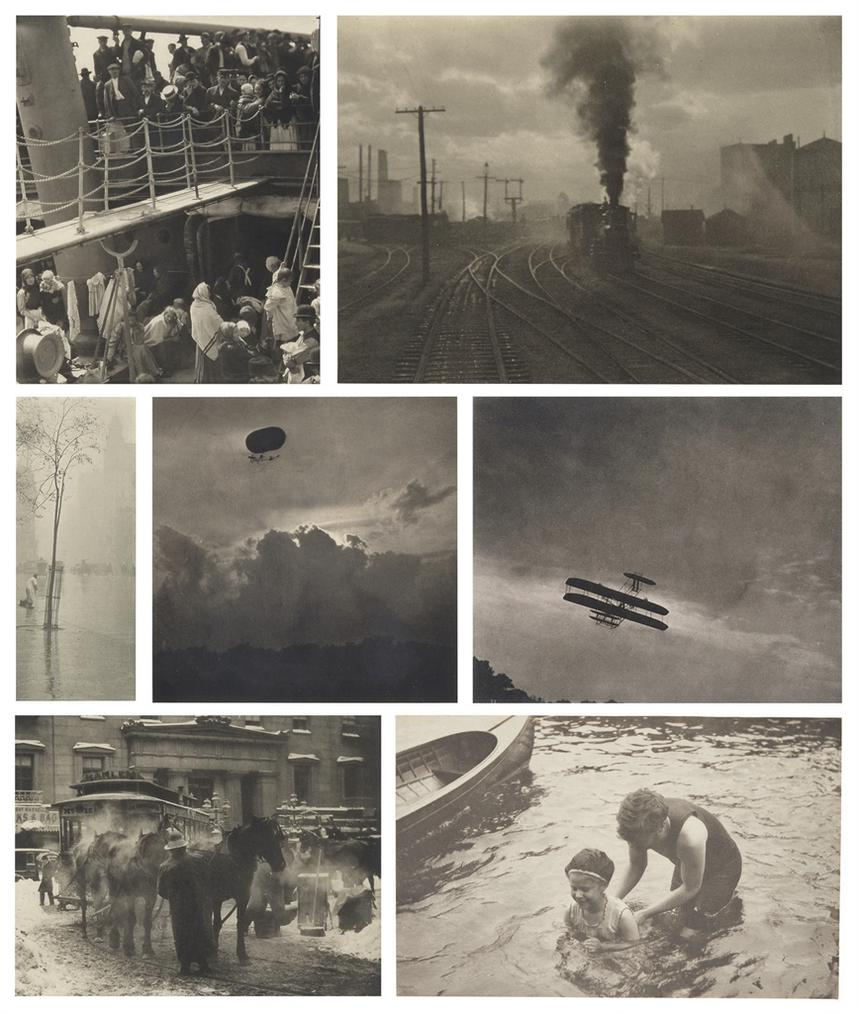 Alfred Stieglitz-Selected Images From Camera Work, 1893-1910: (i) The Steerage, 1907; (ii) The Hand of Man, 1902; (iii) Spring Showers, 1900–1901; (iv) A Dirigible, 1910; (v) The Aeroplane, 1910; (vi) The Terminal, New York, 1893; (vii) The Swimming Lesson, 1906-1910