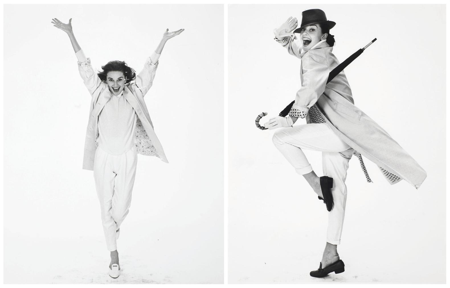 Richard Avedon-Two Images Of Audrey Hepburn In Raincoat, New York City, 1957-1957