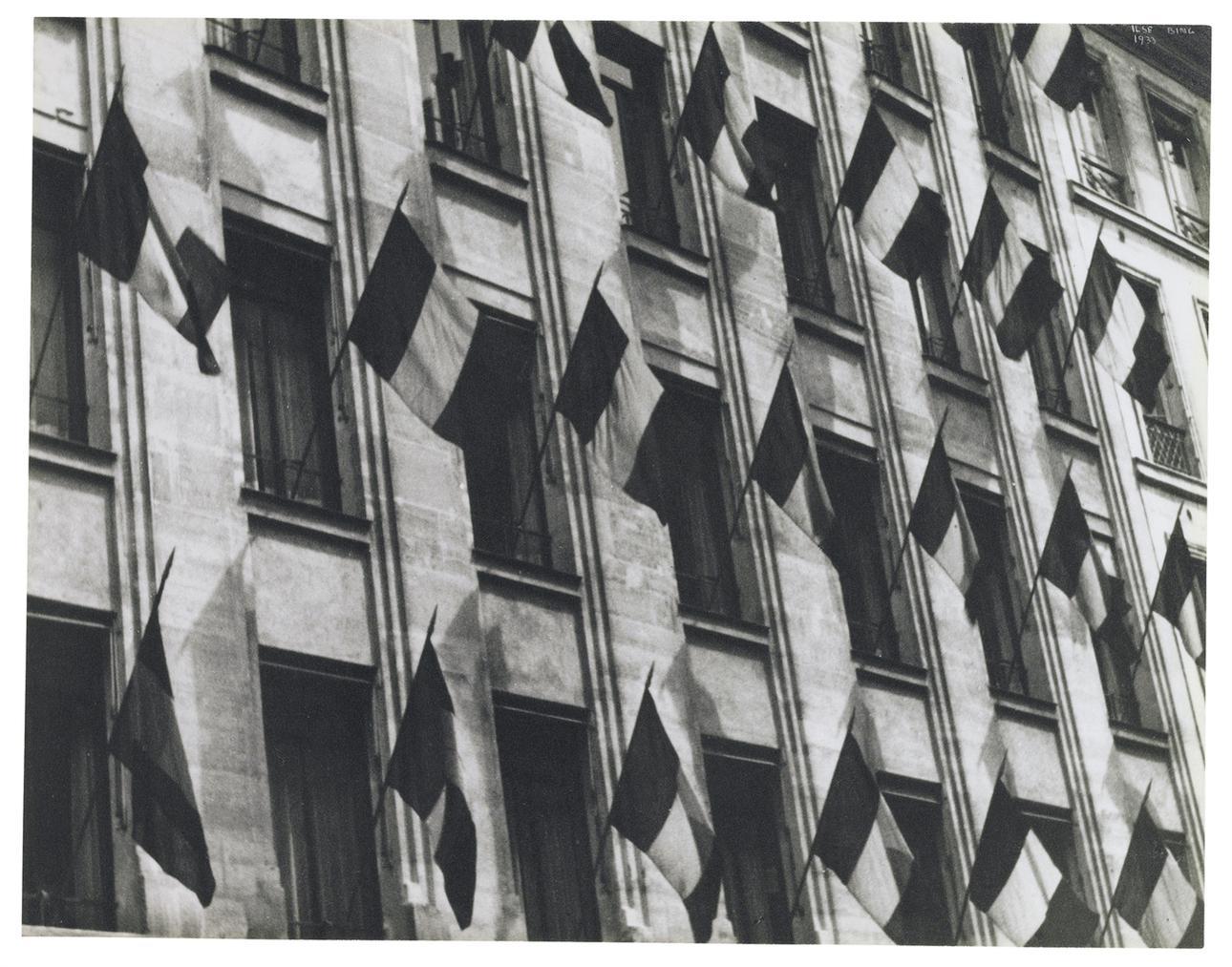 Ilse Bing-Paris Windows With Flags, Bastille Day-1933