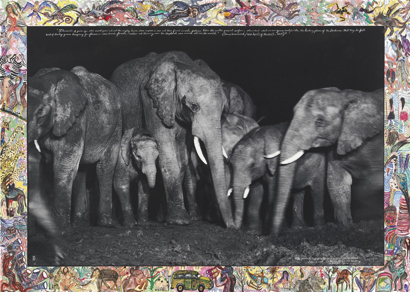 Peter Beard-Elephant Family At Night At A Salt Lick, Aberdare Forest-1972