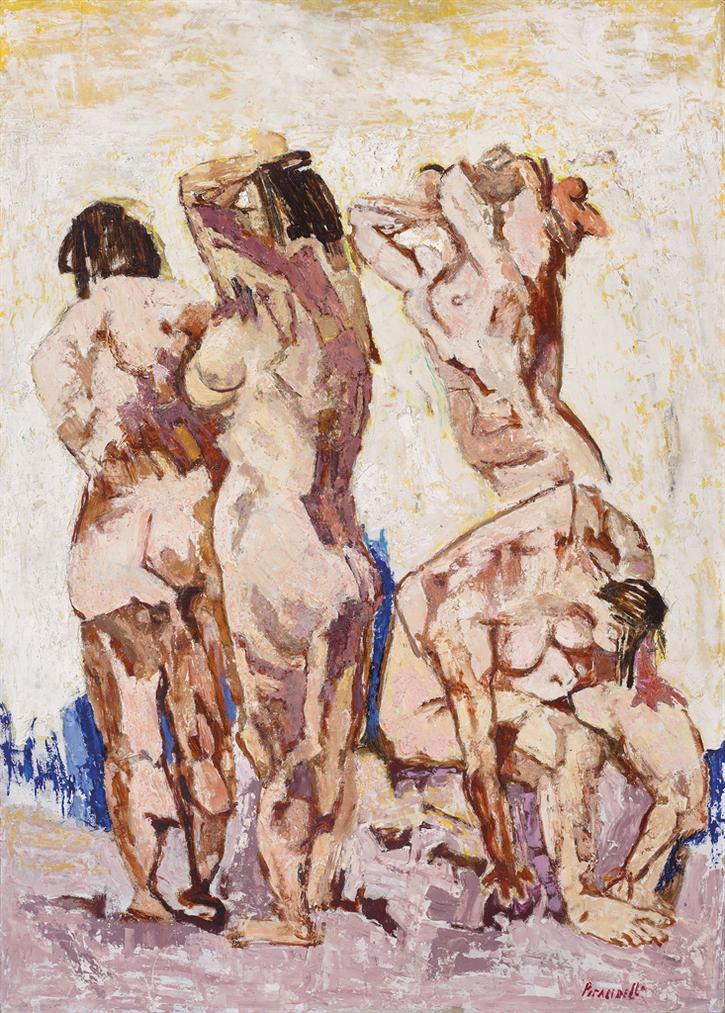 Fausto Pirandello-Bagnanti Verticali-1948