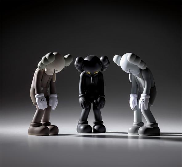 KAWS-Three Works: (I) Small Lie (Brown); (II) Small Lie (Black); (III) Small Lie (Grey)-2017