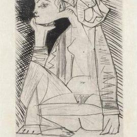 Pablo Picasso-Femme Assise En Tailleur: Genevieve Laporte (Seated Woman In A Suit: Genevieve Laporte)-1951