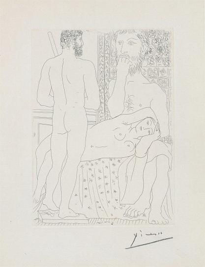 Pablo Picasso-Sculpteur, Modele Couche Et Sculpture (Sculptor And Model Lying With Sculpture), Plate 37 From La Suite Vollard-1933