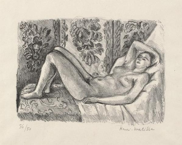 Henri Matisse-Nu Couche Au Paravent Louis XIV (Nude Lying In Front Of A Louis Xiv Screen)-1923