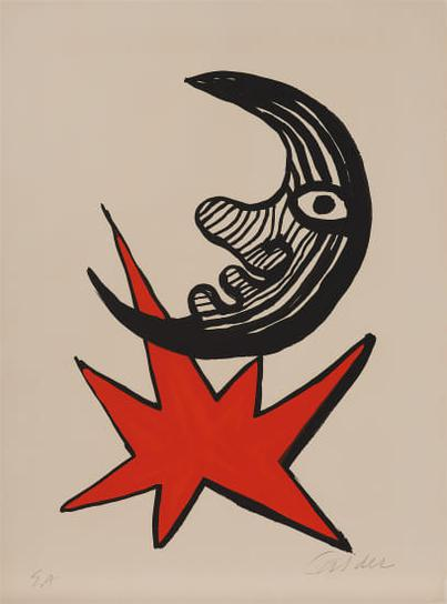 Alexander Calder-Lune Et Etoile Rouge (Moon And Red Star)-1970