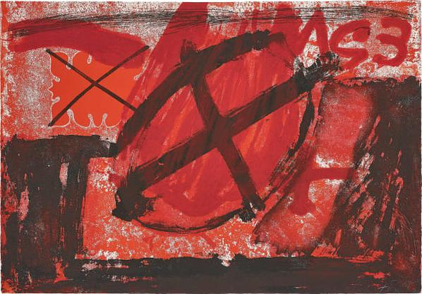 Antoni Tapies-Cercle Rouge (Red Circle)-1976
