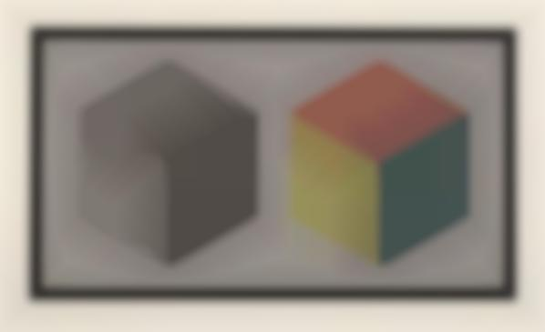 Sol LeWitt-Double Cubes In Grays And Colors Superimposed-1989