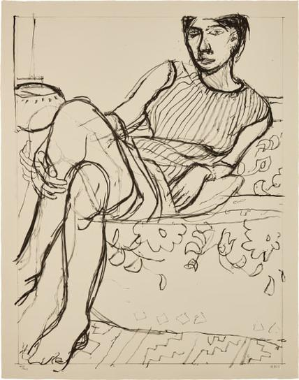 Richard Diebenkorn-Seated Woman In A Striped Dress, From Seated Woman Series-1965