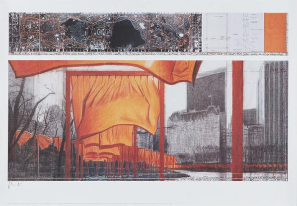 Christo and Jeanne-Claude-The Gates: Project For Central Park, New York City, XIX, Drawing In Two Parts-2003