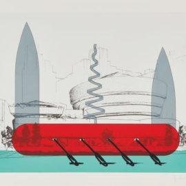 Claes Oldenburg-Knife Ship Superimposed On The Solomon R. Guggenheim Museum-1986