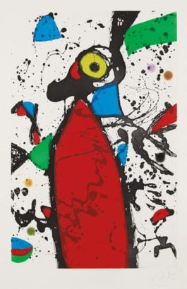 Joan Miro-Souris Rouge A La Mantille (Red Mouse In The Mantilla)-1975